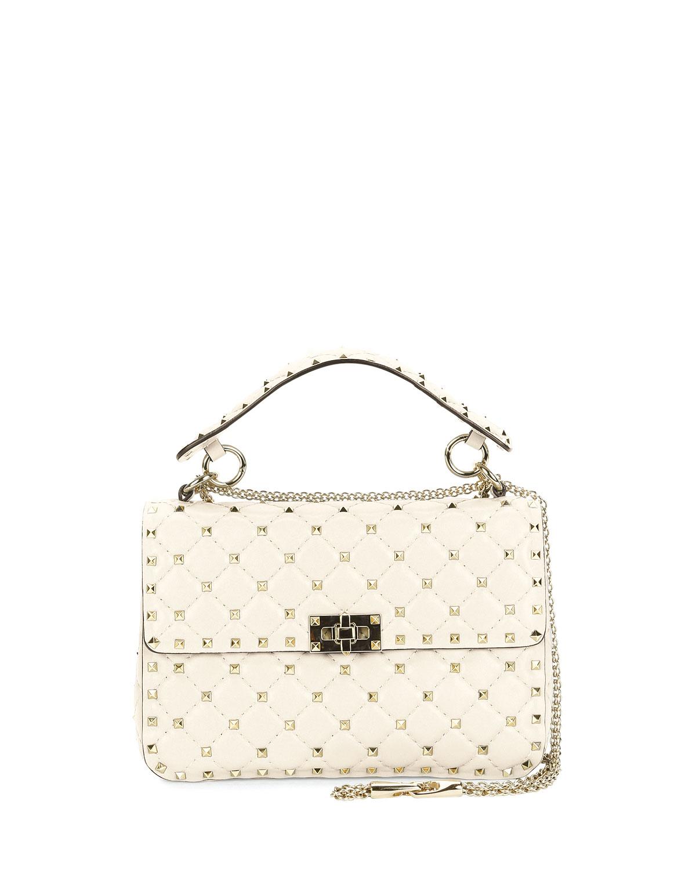 d9342c38ac Valentino Garavani Rockstud Spike Small Quilted Shoulder Bag, Light Ivory