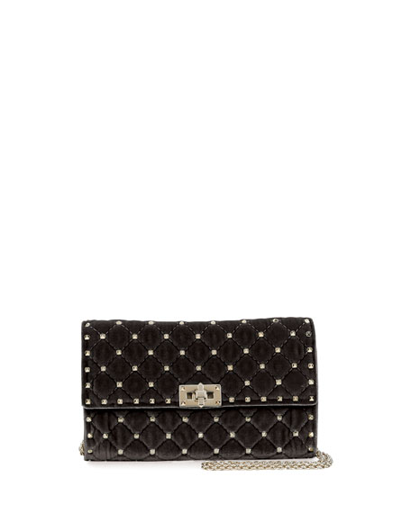 Rockstud Spike Velvet Chain Bag, Black