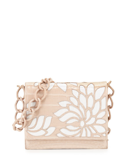 Gio Laser-Cut Flower Crocodile Crossbody Bag