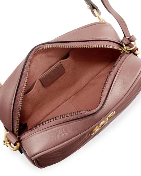 Gucci Camera Marmont Gg Matelassé Mini Dusty Pink Leather