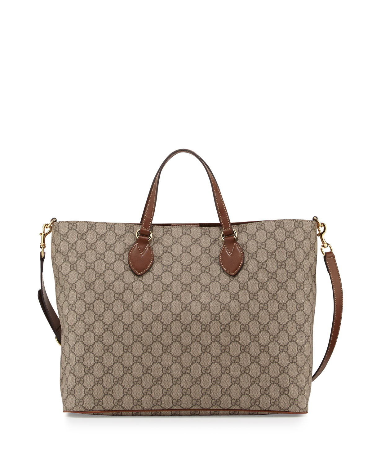 Gucci GG Supreme Top-Handle Tote Bag, Tan   Neiman Marcus a7eb8f3480