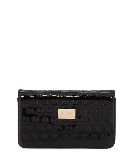 St. John Collection Logo-Embossed Patent Wallet-On-Chain, Black/Gold