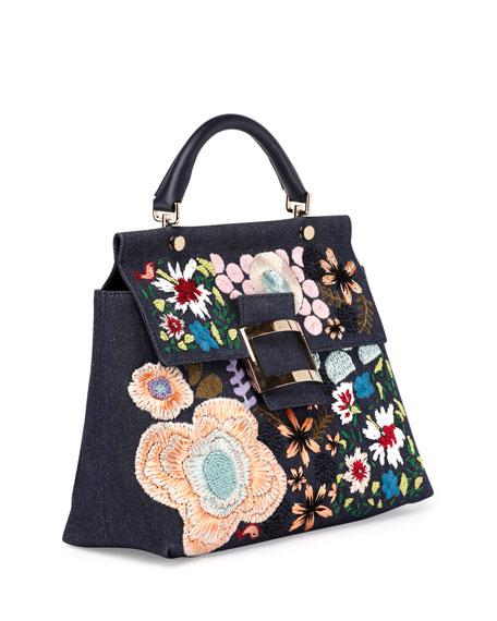Viv Cabas Medium Denim Top-Handle Satchel Bag