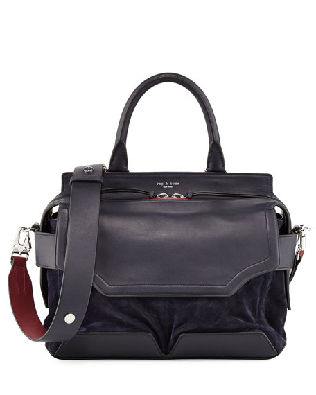 Pilot Suede & Leather Satchel Bag, Navy
