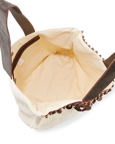 Cleopatra Beaded & Embellished Linen Tote Bag