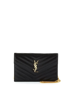 20ba60458fe2 Saint Laurent Monogram YSL Chevron Quilted Wallet on Chain