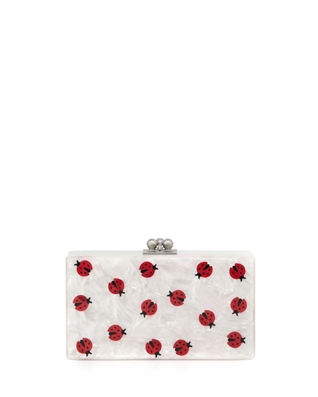Jean Ladybug Box Clutch Bag, White