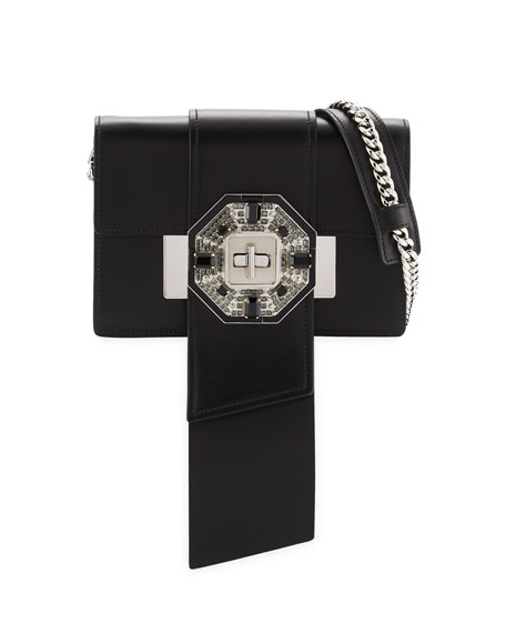 Jewels Ribbon Flap Shoulder Bag, Black (Nero)