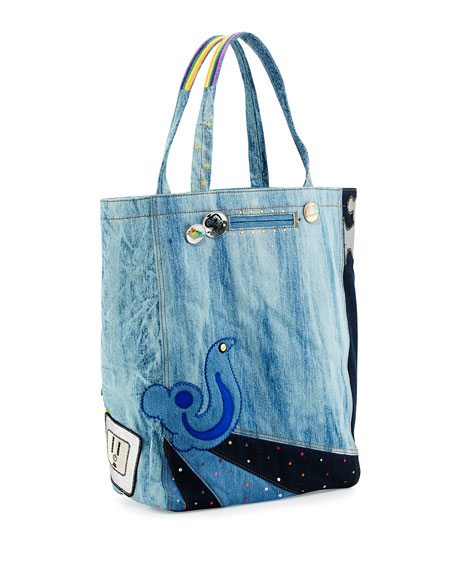 Denim Patches Tote Bag, Blue
