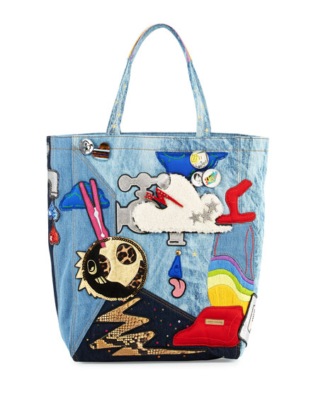 Marc Jacobs Denim Patches Tote Bag, Blue