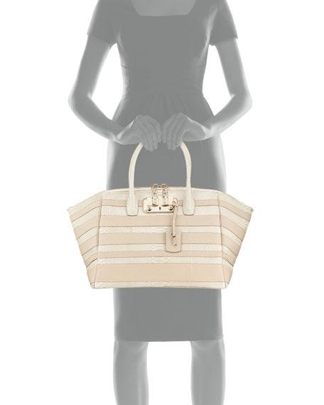 Brera 34 Python & Vitello Striped Satchel Bag, Limestone