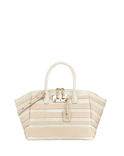 VBH Brera 34 Python & Vitello Striped Satchel Bag, Limestone