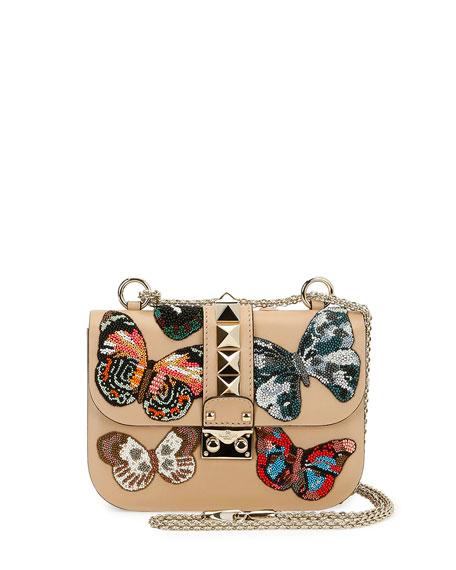 Valentino Garavani Lock Small Butterfly Shoulder Bag, Beige