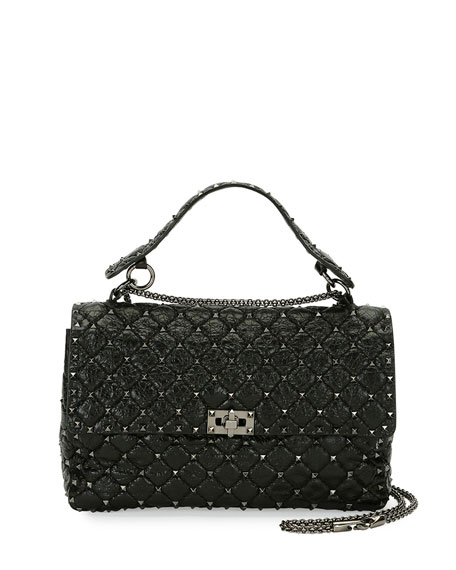 Rockstud Large Quilted Shoulder Bag, Black
