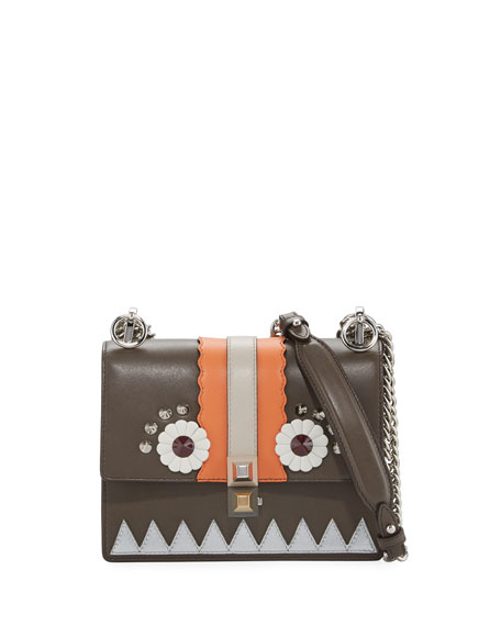 Kan I Faces Mini Shoulder Bag, Brown/Multi
