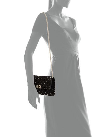 Rockstud Spike Quilted Suede Chain Shoulder Bag
