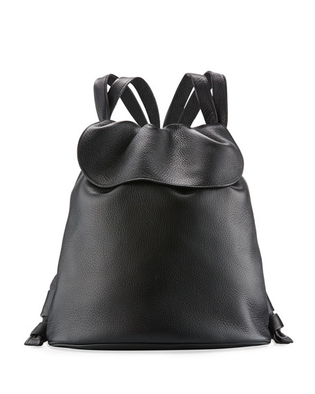 THE ROW Knapsack Tumbled Leather Flap-Top Bag, Black