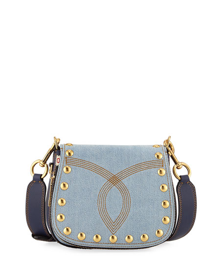 Marc Jacobs Nomad Small Studded Saddle Bag, Denim