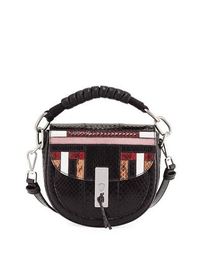 Ghianda Mini Snakeskin Saddle Bag  Multipattern