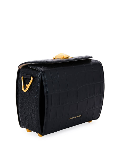 Box 19 Crocodile-Embossed Satchel Bag, Black