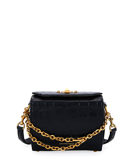 Alexander McQueen Box 19 Crocodile-Embossed Satchel Bag, Black