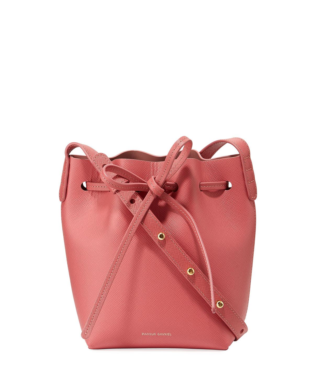 255717995 Mansur Gavriel Mini Mini Saffiano Leather Bucket Bag   Neiman Marcus