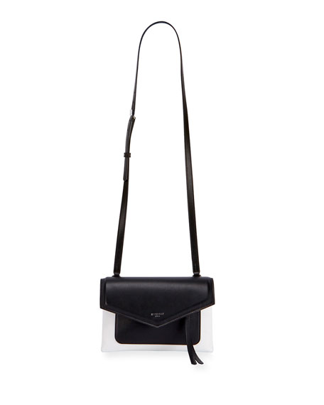 Givenchy Duetto Leather Crossbody Bag, Black/White