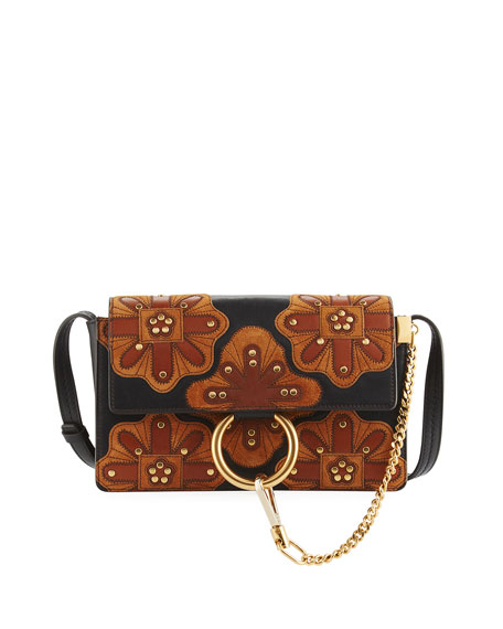 Chloe Faye Small Patchwork Leather Shoulder Bag, Black