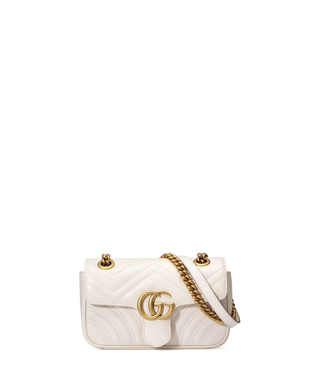 f98ddb3a895c Gucci GG Marmont Small Quilted Crossbody Bag, White | Neiman Marcus