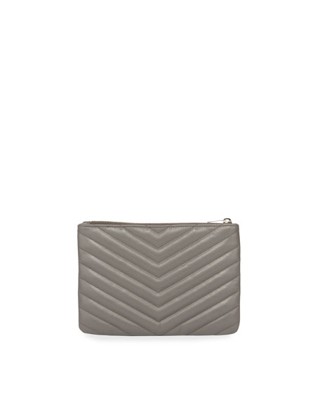 Monogram Small Chevron Quilted  Zip-Top Pouch Bag - Silver Hardware