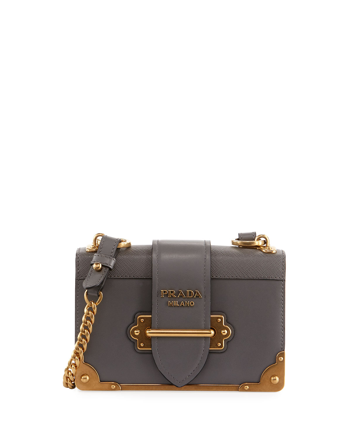 052613eaca13dd Prada Cahier Small Leather Trunk Crossbody Bag | Neiman Marcus