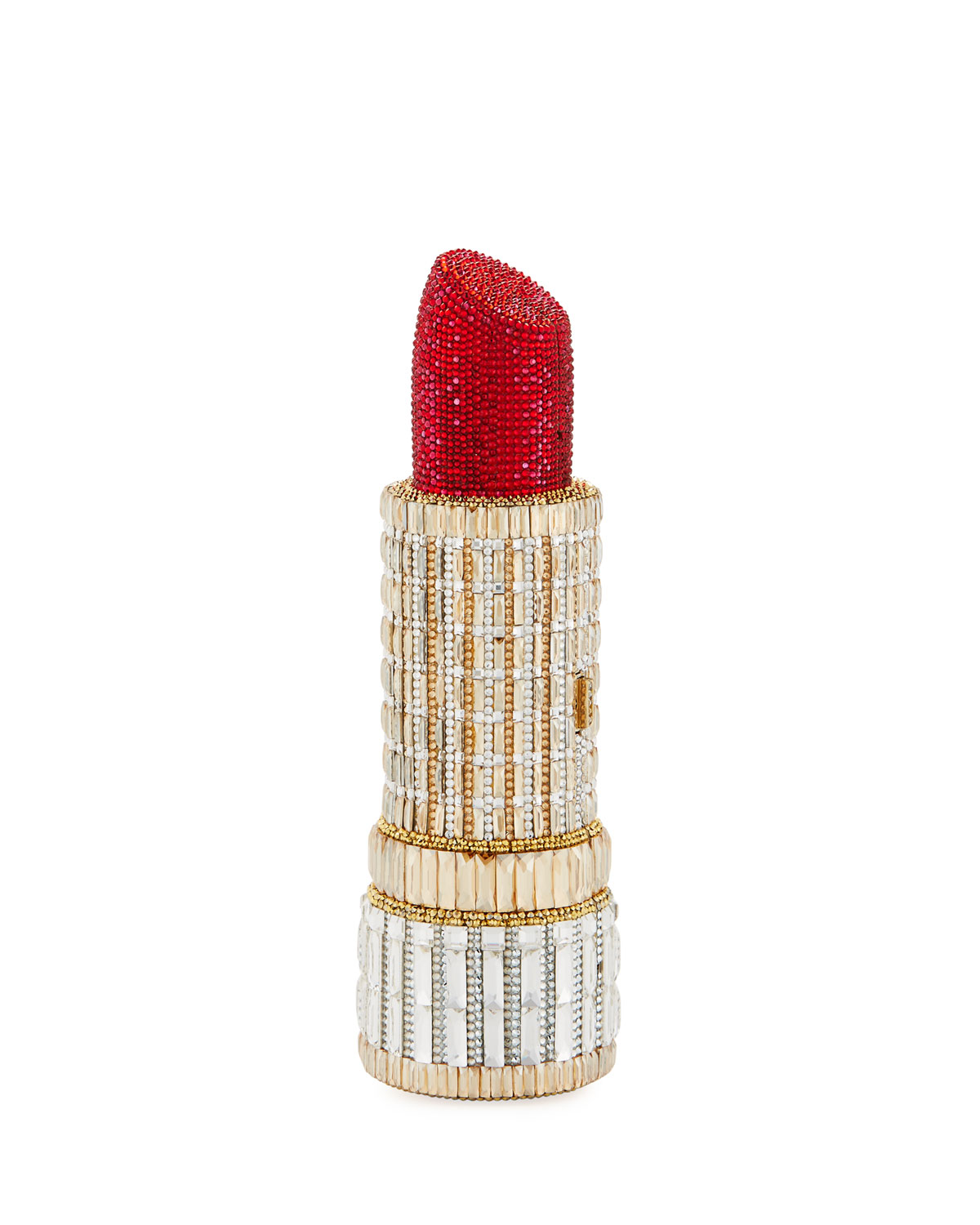 Exact Product: Seductress Crystal Lipstick Clutch Bag, Brand: Judith Leiber Couture, Available on: neimanmarcus.com