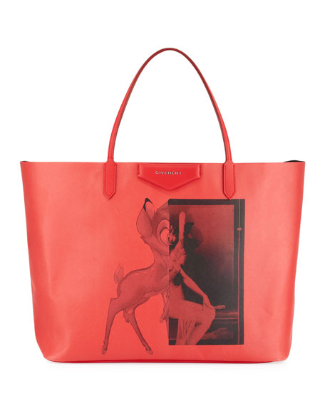 Givenchy Antigona Coated Canvas Shopper Tote Bag, Red