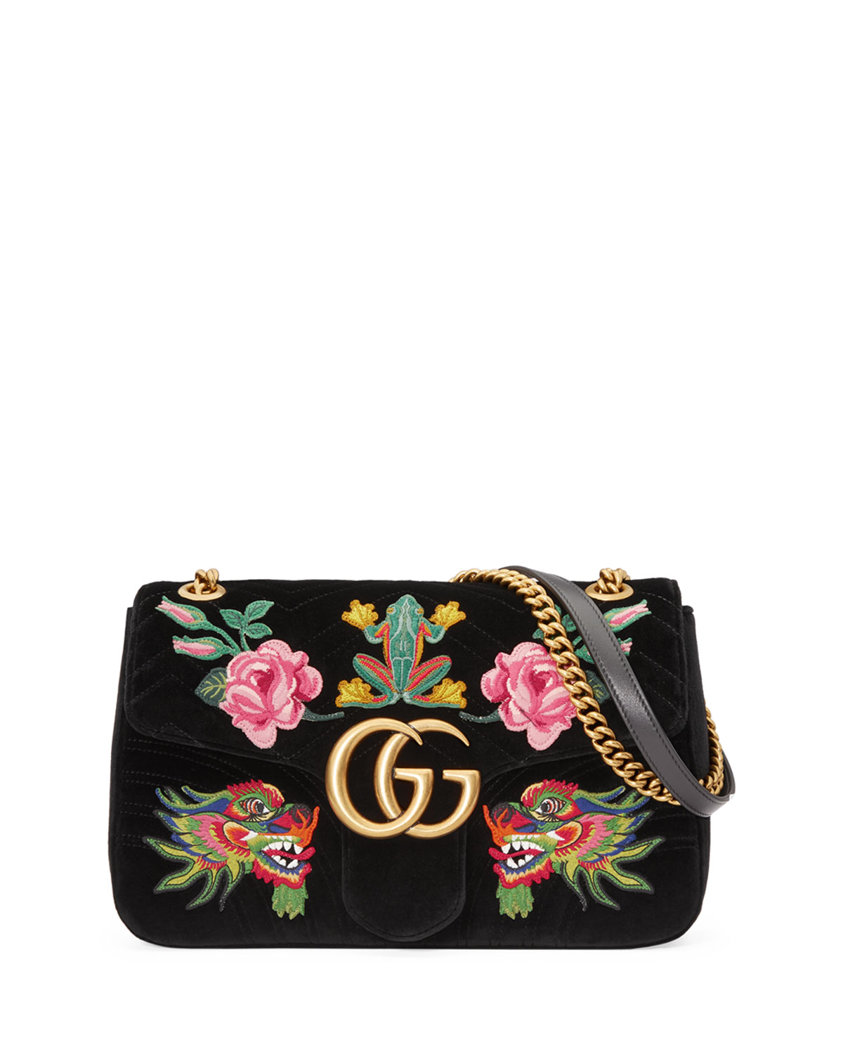 dbcc4ef92a0 Gucci 110th Anniversary GG Marmont Small Dragon Velvet Shoulder Bag ...