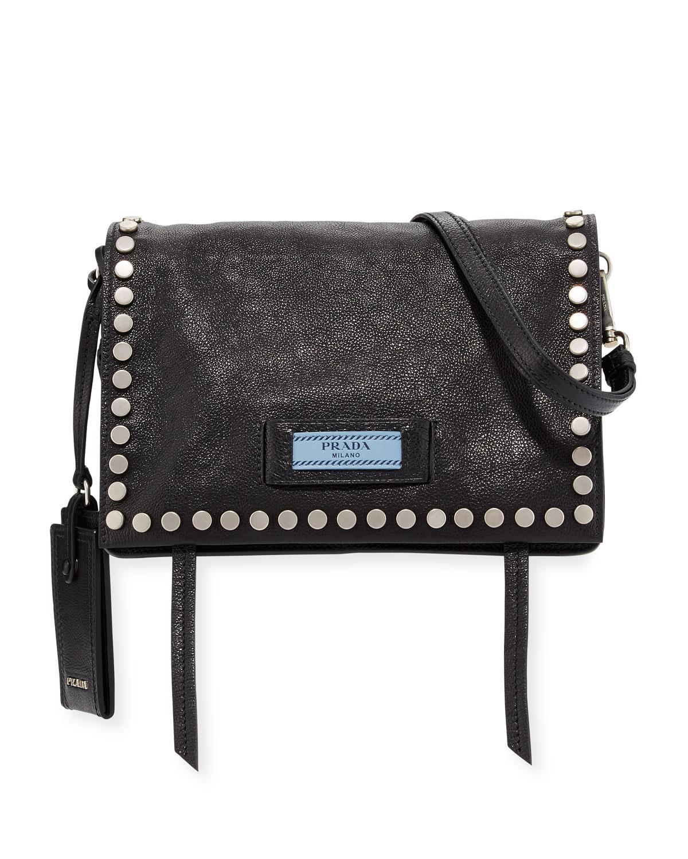 4b825640ee893d Prada Small Studded Glace Calf Etiquette Shoulder Bag | Neiman Marcus