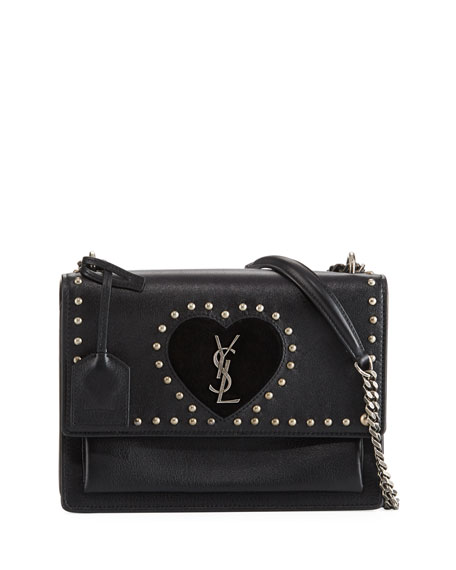 Saint Laurent Sunset Monogram Medium Heart Studded Shoulder