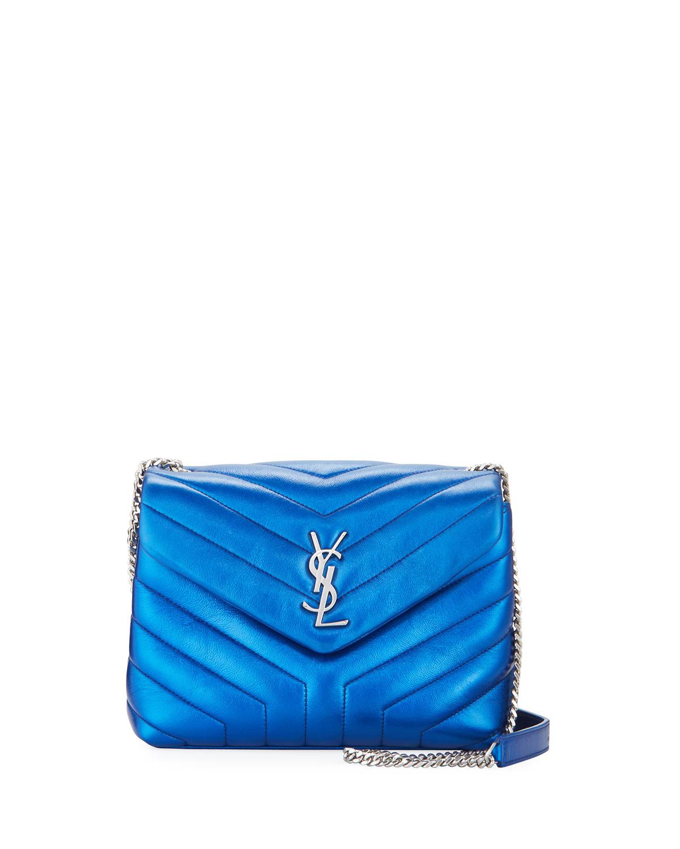 9a07d33b627 Saint Laurent Loulou Monogram Small Metallic Leather Shoulder Bag ...