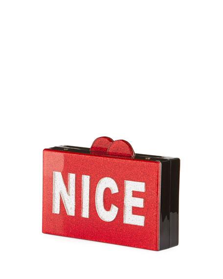 Girls' Naughty/Nice Glittered Acrylic Box Clutch Bag