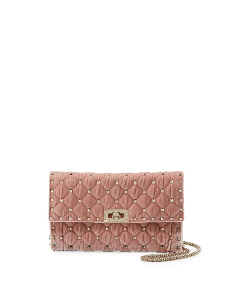 Rockstud Spike Quilted Velvet Wallet On Chain, Light Pink