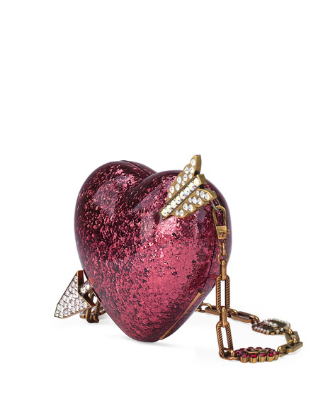 Broadway Glitter Resin Heart Minaudiere Clutch Bag