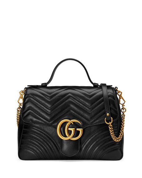 Gucci GG Marmont Medium Chevron Quilted Top-Handle Bag