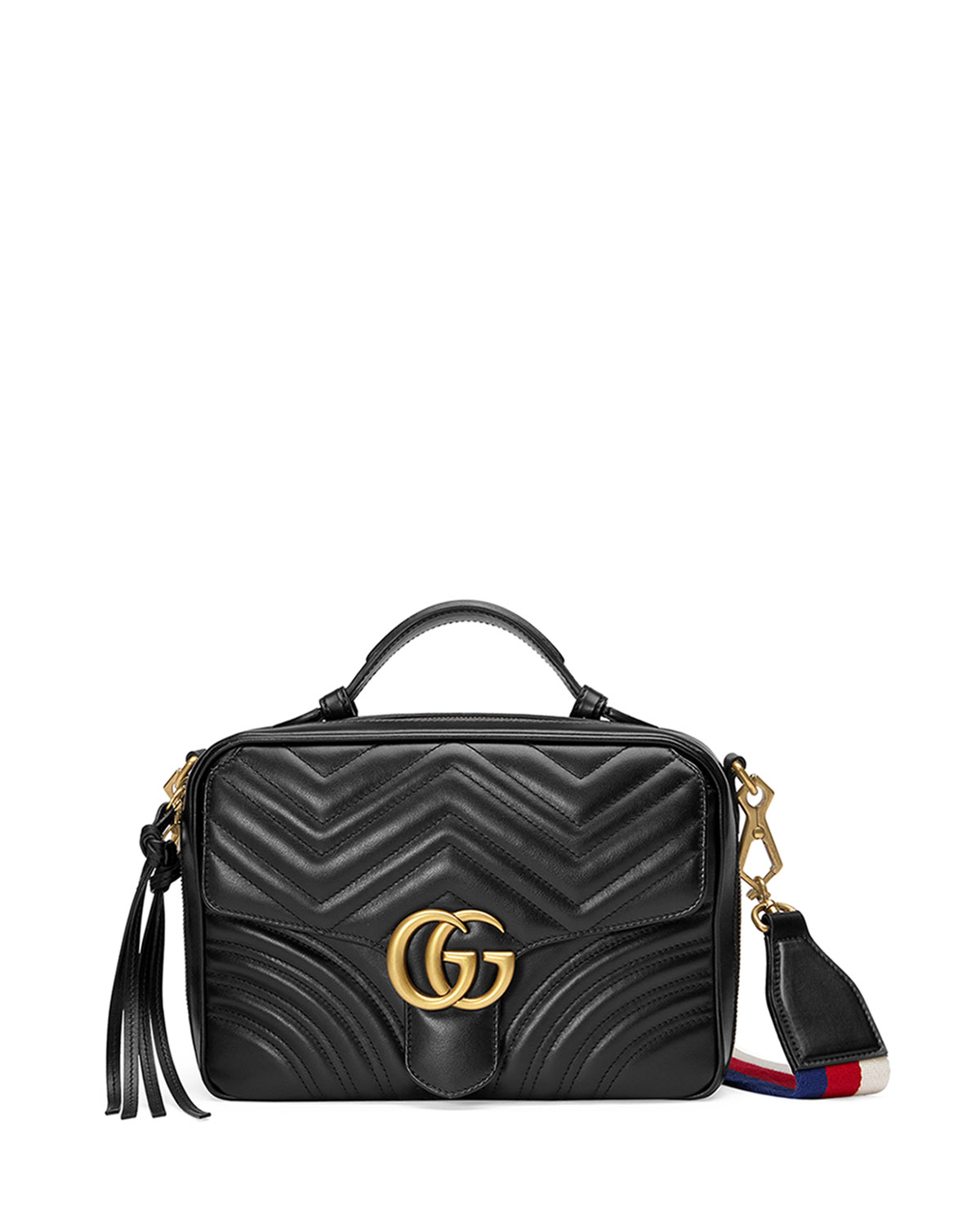 c8824f97ca8b GucciGG Marmont Small Chevron Quilted Leather Top-Handle Camera Bag with  Web Strap