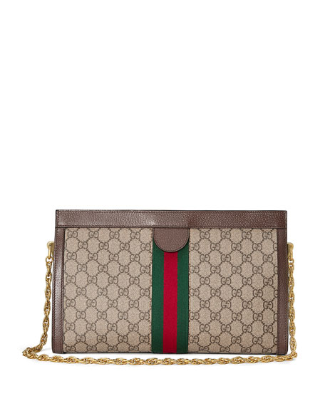 Image 3 of 4: Gucci Ophidia Linea Dragoni Medium GG Supreme Canvas Chain Shoulder Bag