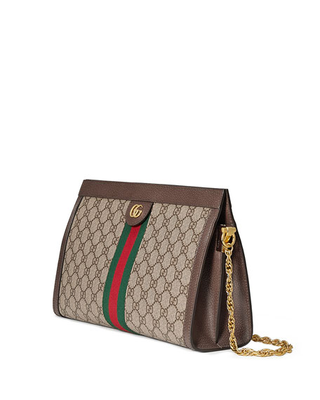 Image 4 of 4: Gucci Ophidia Linea Dragoni Medium GG Supreme Canvas Chain Shoulder Bag