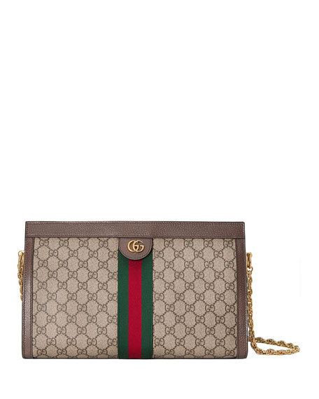 Image 1 of 4: Gucci Ophidia Linea Dragoni Medium GG Supreme Canvas Chain Shoulder Bag