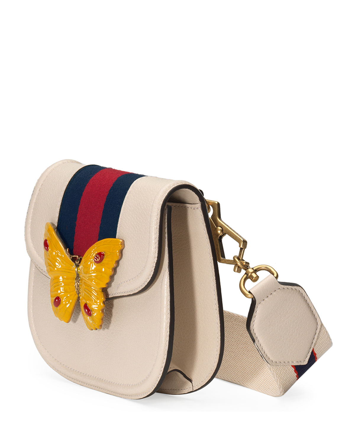 Gucci Linea Totem Small Leather Shoulder Bag with Butterfly & Web Strap 3FbzS