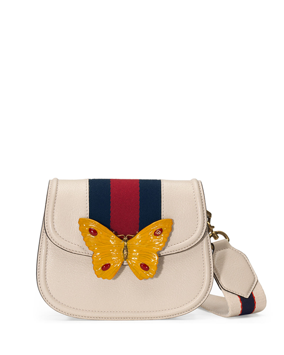 872d07d36c2 Gucci Linea Totem Small Leather Shoulder Bag with Butterfly   Web Strap