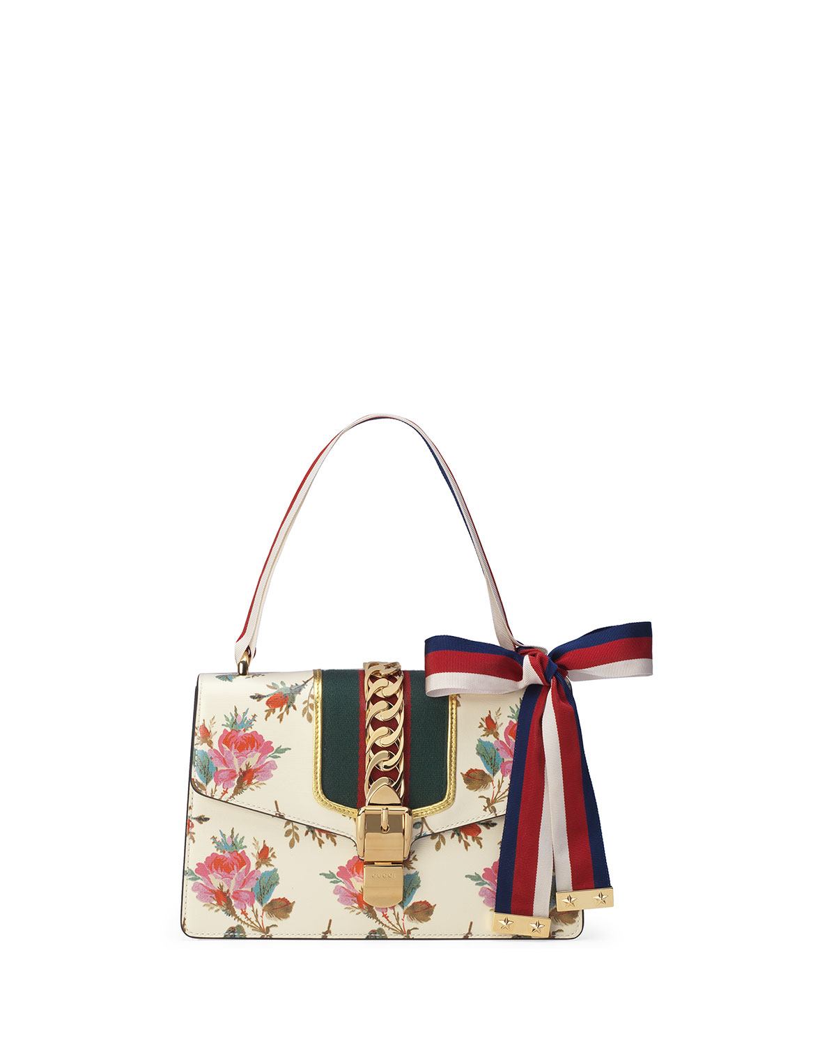 bc6d8f588 Gucci Sylvie Small Rose Floral Leather Shoulder Bag | Neiman Marcus