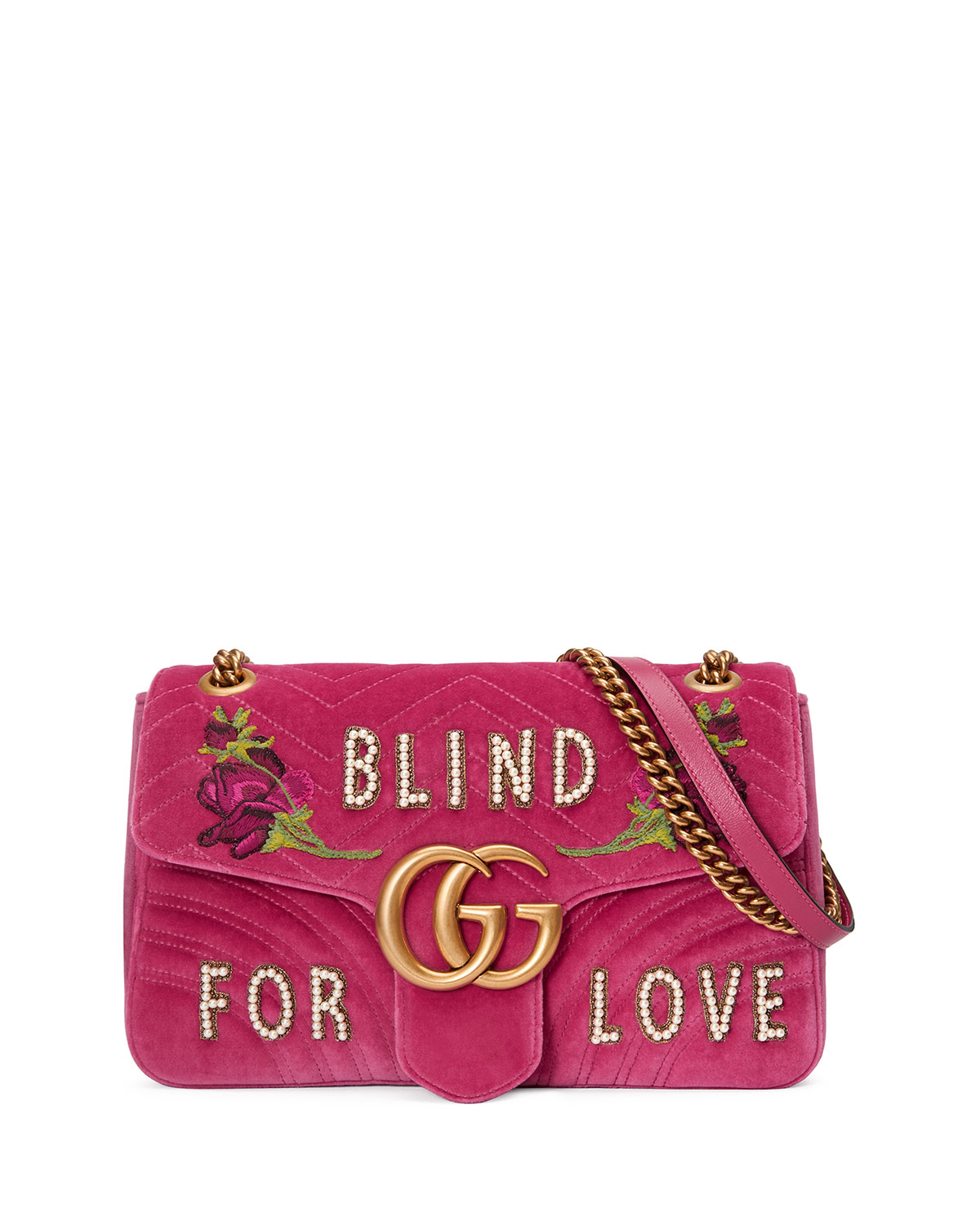 a1393b2b18a8 Gucci GG Marmont Medium Embroidered Velvet Blind for Love Shoulder Bag