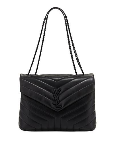 Loulou Monogram Medium Chain Bag with Black Hardware